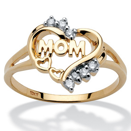 Mom Heart Ring with Diamond Accents in 10k Gold at PalmBeach Jewelry