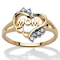 Mom Heart Ring with Diamond Accents in 10k Gold