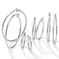 "Polished .925 Sterling Silver Hoop Earrings 4-Pair Set (2"", 1 1/2"", 1 1/4"", 3/4"")"
