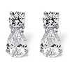 Related Item 15.50 TCW Pear-Shaped and Round Cubic Zirconia Sterling Silver Drop Earrings