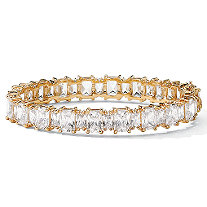 36.50 TCW Emerald-Cut Cubic Zirconia 18k Yellow Gold-Plated Tennis Bracelet 7 1/2""