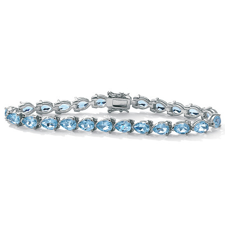 24 TCW Pear-Shaped Genuine Blue Topaz Sterling Silver Tennis Bracelet 7 1/2