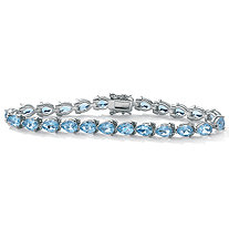 24 TCW Pear-Shaped Genuine Blue Topaz Sterling Silver Tennis Bracelet 7 1/2""
