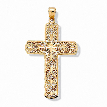 10k Gold Diamond-Cut Swirl Religious Cross Pendant at Direct Charge presents PalmBeach