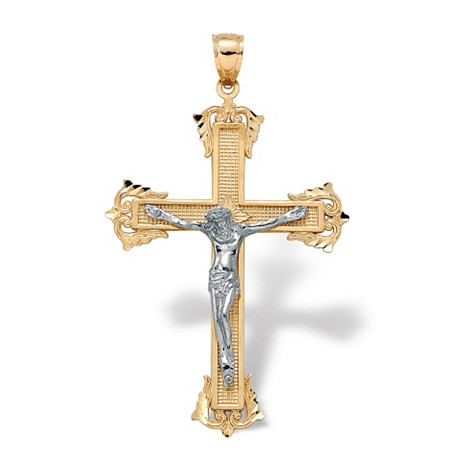 Two-Tone 10k Yellow and White Gold Religious Cross Crucifix Pendant at PalmBeach Jewelry
