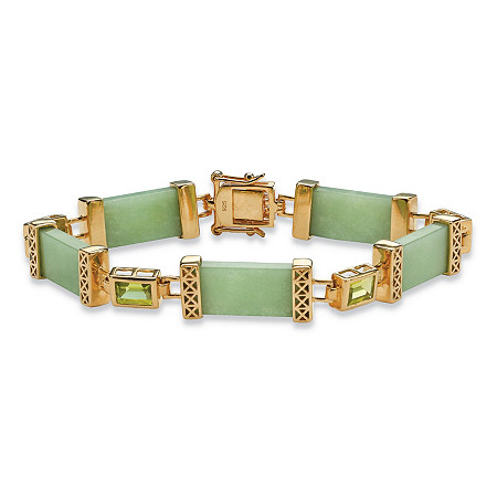 3 TCW Genuine Peridot and Jade Bracelet in 14k Gold over .925 Sterling Silver 8