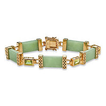 Genuine Green Jade and Peridot Link Bracelet 2.4 TCW in 14k Gold over .925 Sterling Silver 8""