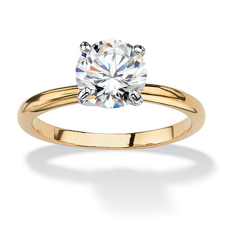 1.88 TCW Round Cubic Zirconia Solitaire Engagement Ring in 18k Gold-Plated at PalmBeach Jewelry