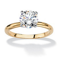1.88 TCW Round Cubic Zirconia Solitaire Engagement Anniversary Ring in 18k Gold-Plated