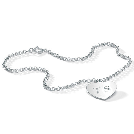 Personalized Heart Charm Rolo-Link Ankle Bracelet in Sterling Silver 10