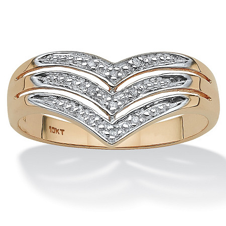 White Diamond Accent 10k Yellow Gold Triple-Row Chevron Ring at PalmBeach Jewelry
