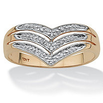 White Diamond Accent 10k Yellow Gold Triple-Row Chevron Ring