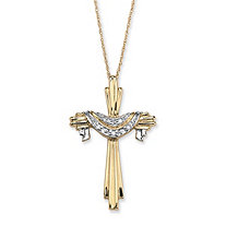Diamond Accent Shrouded Cross Two-Tone Textured Pendant Necklace in Solid 10k Yellow Gold 18