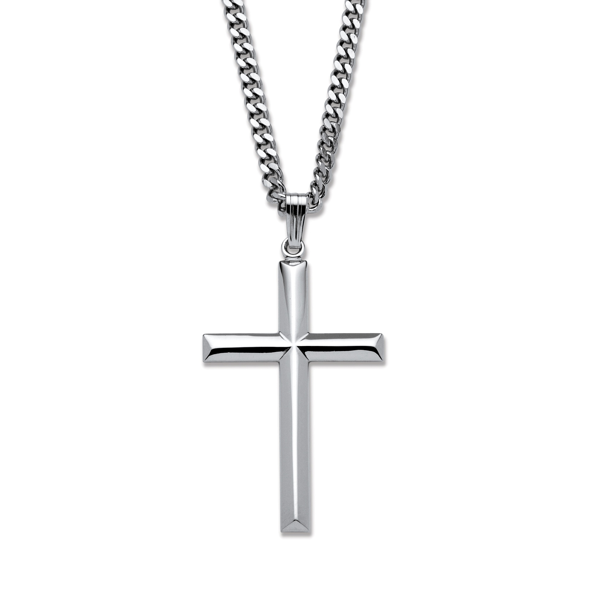 Cross pendant in sterling silver with stainless steel chain 24 at cross pendant in sterling silver with stainless steel chain 24 at palmbeach jewelry aloadofball