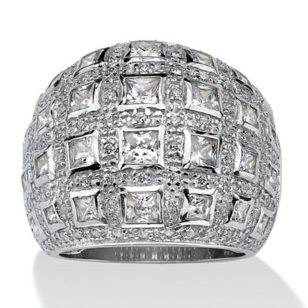 4.12 TCW Princess-Cut and Round Cubic Zirconia Sterling Silver Dome Ring at PalmBeach Jewelry