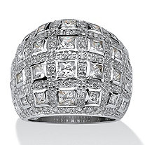 SETA JEWELRY 4.12 TCW Princess-Cut and Round Cubic Zirconia Sterling Silver Dome Ring