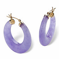 "Lavender Jade 14k Yellow Gold Hoop Earrings (1"")"