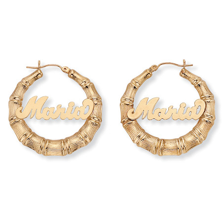 personalized name hoop earrings personalized bamboo hoop earrings in 10k gold palm 4693