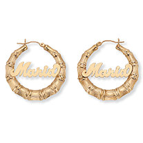 "Personalized Bamboo Hoop Earrings in 10k Gold (1 3/8"")"