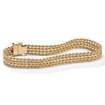 10k Yellow Gold Braided Rope Bracelet 7.25""