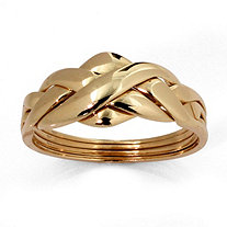 Commitment Symbol Braided Puzzle Ring in Solid 10k Yellow Gold