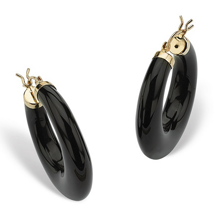 Reconstituted Black Onyx 14k Yellow Gold Hoop Earrings at PalmBeach Jewelry