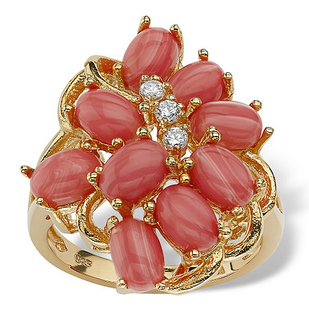Orange Oval Simulated Coral 18k Gold over Sterling Silver Cluster Cocktail Ring at PalmBeach Jewelry