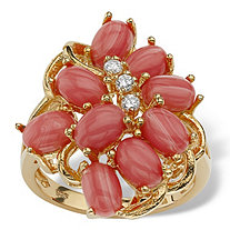 Orange Oval Simulated Coral 18k Gold over Sterling Silver Cluster Cocktail Ring