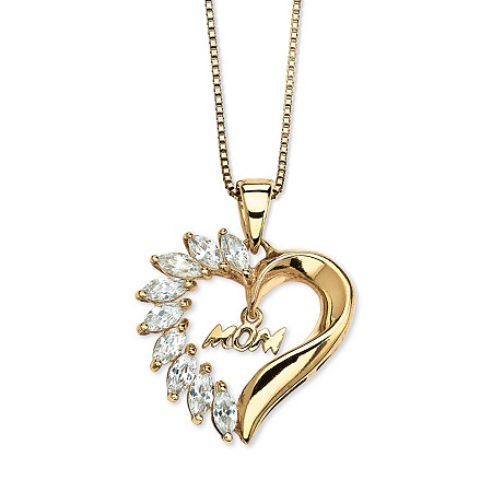 1.35 TCW Cubic Zirconia Mom Heart Pendant Necklace in 18k Gold over Sterling Silver at PalmBeach Jewelry