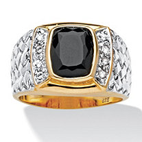 Men's Cushion-Cut Onyx and Cubic Zirconia Ring in 18k Gold over Sterling Silver Sizes 8-16