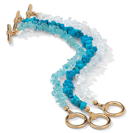 3 Piece Set Turquoise, Topaz and Quartz Bracelets in Yellow Gold Tone at PalmBeach Jewelry