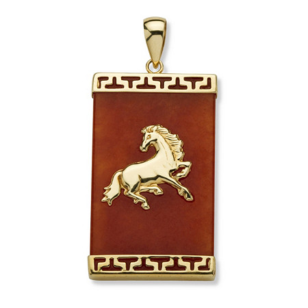 Genuine Red Jade 14k Yellow Gold Charm Horse Pendant at PalmBeach Jewelry