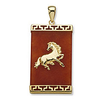 Genuine Red Jade 14k Yellow Gold Charm Horse Pendant