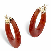 "Red Jade 14k Yellow Gold Hoop Earrings (1"")"
