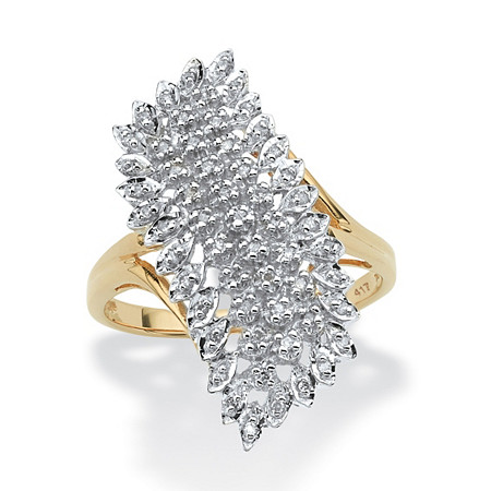 1/7 TCW Round Diamond Cluster Ring in Solid 10k Yellow Gold at PalmBeach Jewelry