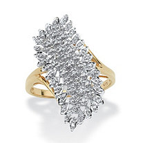 1/7 TCW Round Diamond Cluster Ring in Solid 10k Yellow Gold