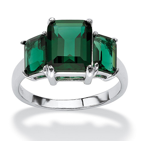 Emerald-Cut Simulated Green Emerald 3-Stone Ring in Sterling Silver at PalmBeach Jewelry