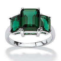 Emerald-Cut Simulated Green Emerald 3-Stone Ring in Sterling Silver