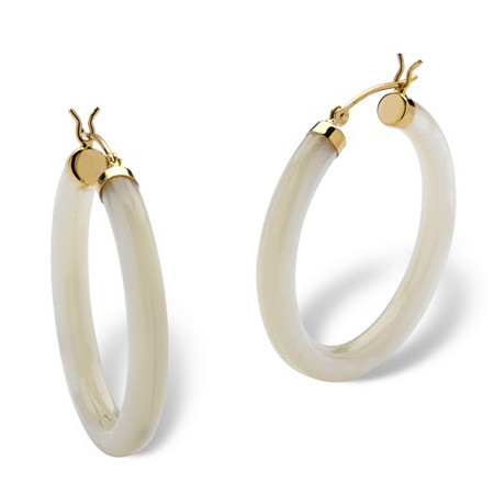 Genuine Mother-Of-Pearl 14k Yellow Gold Hoop Earrings (1 1/4
