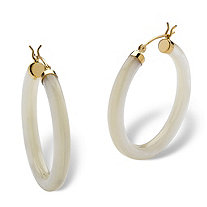 "Genuine Mother-Of-Pearl 14k Yellow Gold Hoop Earrings (1 1/4"")"