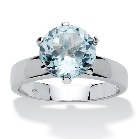 3.80 TCW Round Genuine Blue Topaz Solitaire Ring in Sterling Silver at PalmBeach Jewelry
