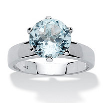 SETA JEWELRY 3.80 TCW Round Genuine Blue Topaz Solitaire Ring in Sterling Silver