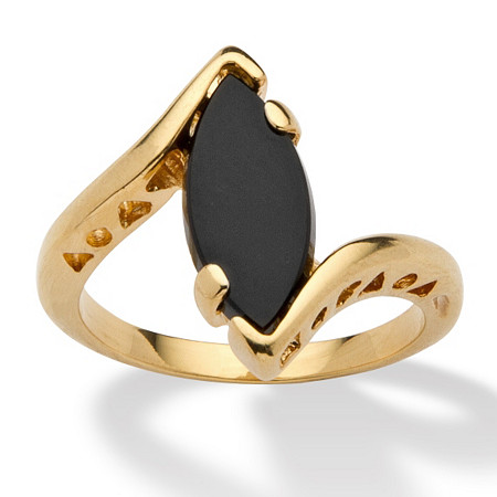 Marquise-Shaped Genuine Onyx 14k Yellow Gold-Plated Classic Ring at PalmBeach Jewelry