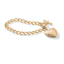 Etched Heart Charm Photo Locket Bracelet with Toggle Clasp in Goldtone 8