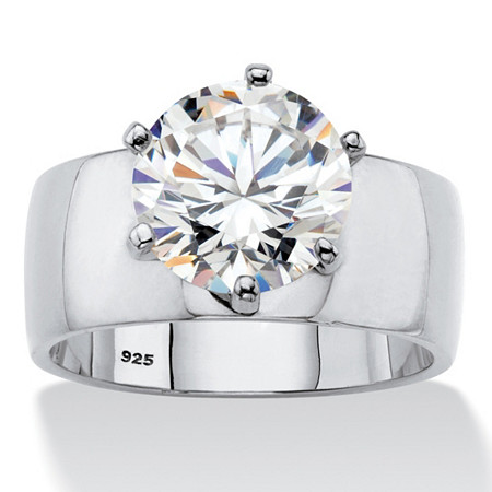 4 TCW Round White Cubic Zirconia .925 Sterling Silver Solitaire Engagement Ring at PalmBeach Jewelry