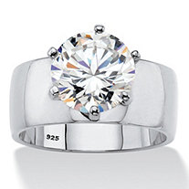 SETA JEWELRY 4 TCW Round White Cubic Zirconia .925 Sterling Silver Solitaire Engagement Ring