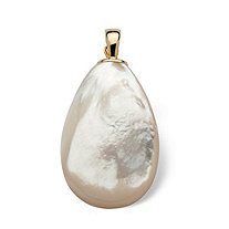 Pear-Shape Genuine Mother-Of-Pearl Drop Pendant/Pearl Enhancer in 14k Yellow Gold
