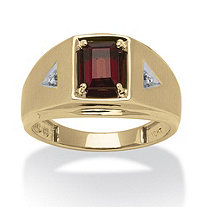 Men's 1.20 TCW Emerald-Cut Genuine Garnet and Diamond Accent Ring in 10k Gold