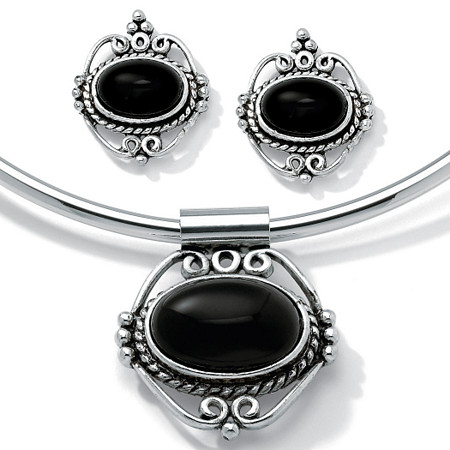 "Genuine Bezel-Set Oval Onyx Two-Piece Necklace and Earrings Set in Antiqued Silvertone 16"" at PalmBeach Jewelry"
