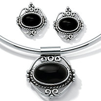 Genuine Bezel-Set Oval Onyx Two-Piece Necklace and Earrings Set in Antiqued Silvertone 16""